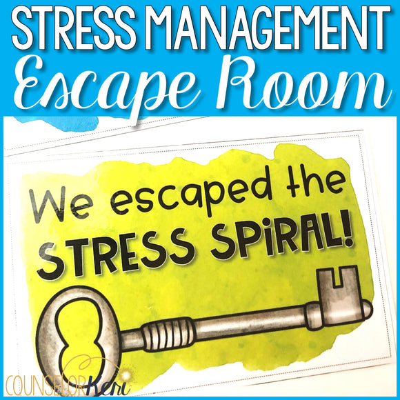 Stress Management Activities: Stress Escape Room for School Counseling