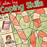 Color by Coping Skills Christmas Holiday Activity Elementary School Counseling