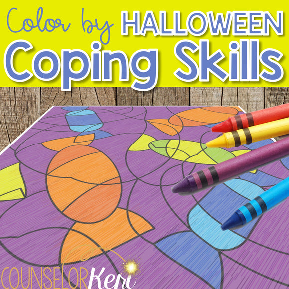 Color by Coping Skills Halloween Counseling Activity