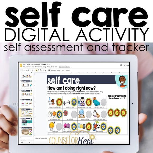 Self Care Digital Activity for Google Slides, Google Classroom Distance Learning