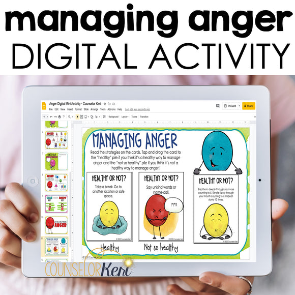 Managing Anger Digital Activity for Google Classroom Distance Learning