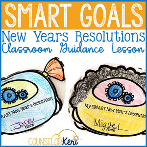 new years resolution craft for smart goals in elementary school counseling