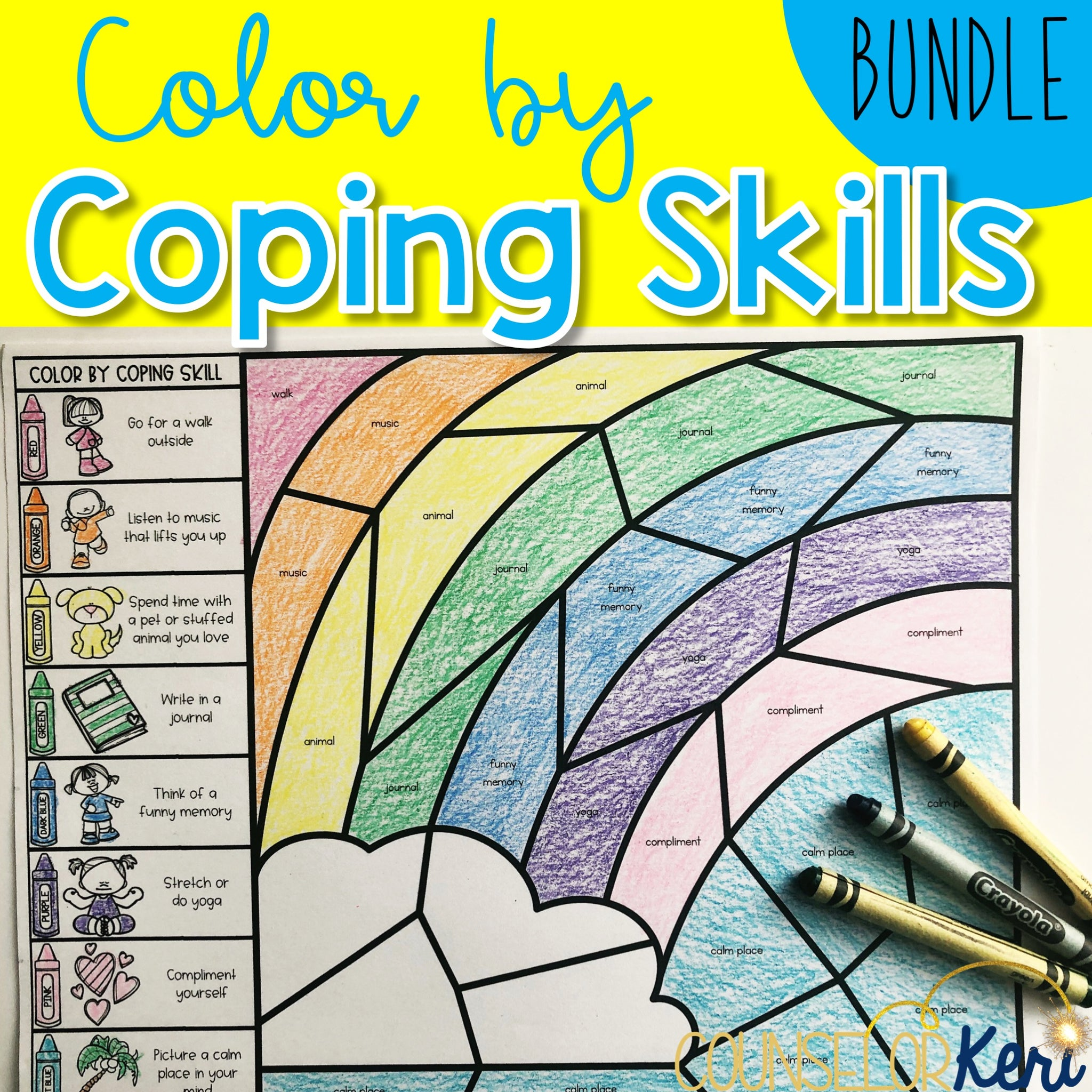 Color by Coping Skills Bundle: Coping Skills Activities