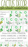 Watercolor Cactus School Counselor Mini Office Decor Set with Banners, Posters