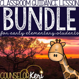 Safari Themed Classroom Guidance Lesson Bundled Unit for Early Elementary School Counseling