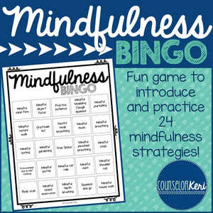 Mindfulness BINGO Game and Task Cards for School Counseling