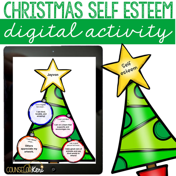 Christmas Self Esteem Digital Activity for Elementary School Counseling