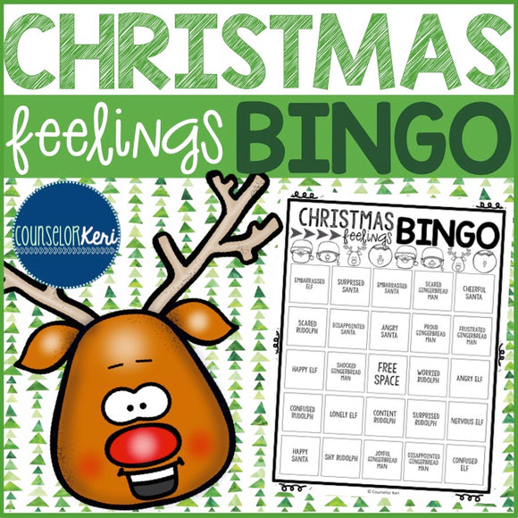 Christmas Feelings Bingo Game - Emotions - Elementary School Counseling