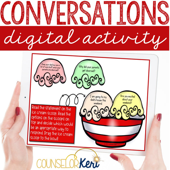 Conversations Social Skills Digital Activity for Elementary School Counseling