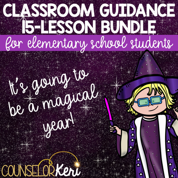 Magic Themed Classroom Guidance Lesson Bundle Unit for Elementary School Counseling