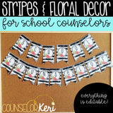 Watercolor Stripes and Floral School Counseling Office Mini Decor Set