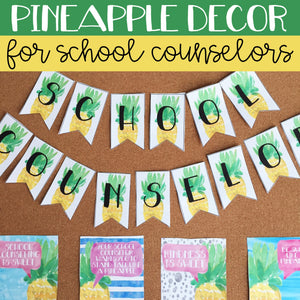 Watercolor Pineapple School Counseling Office Mini Decor Set