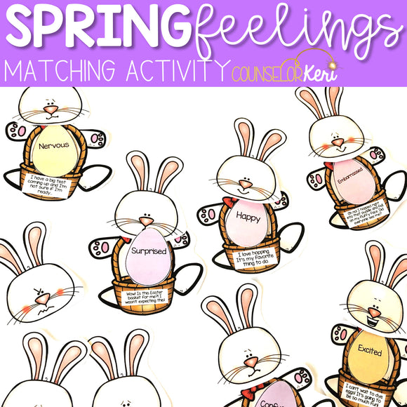 Feelings and Emotions Matching for Easter or Spring Activity School Counseling