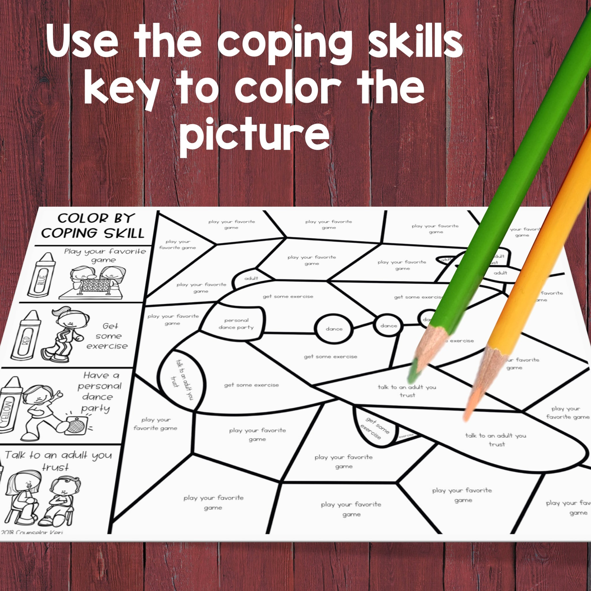 Coping Skills Color by Code: Calming Strategies Activity for