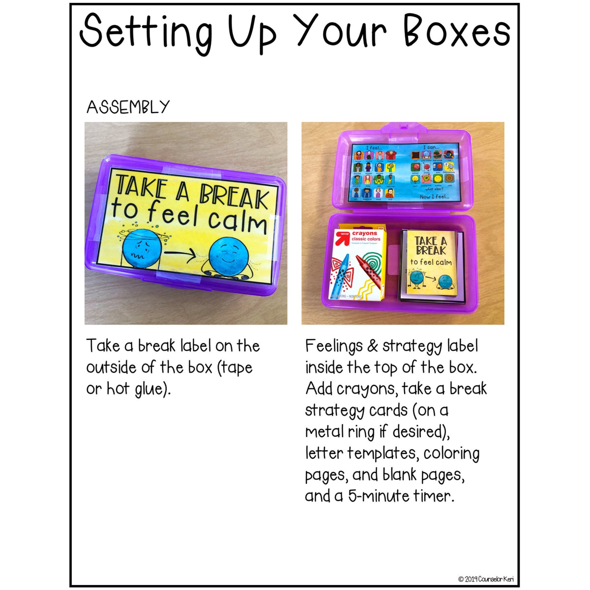 Calm Down Kit Small Box Printables With Coping Skills