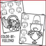 Thanksgiving Color-By-Feeling Printables - Elementary School Counseling