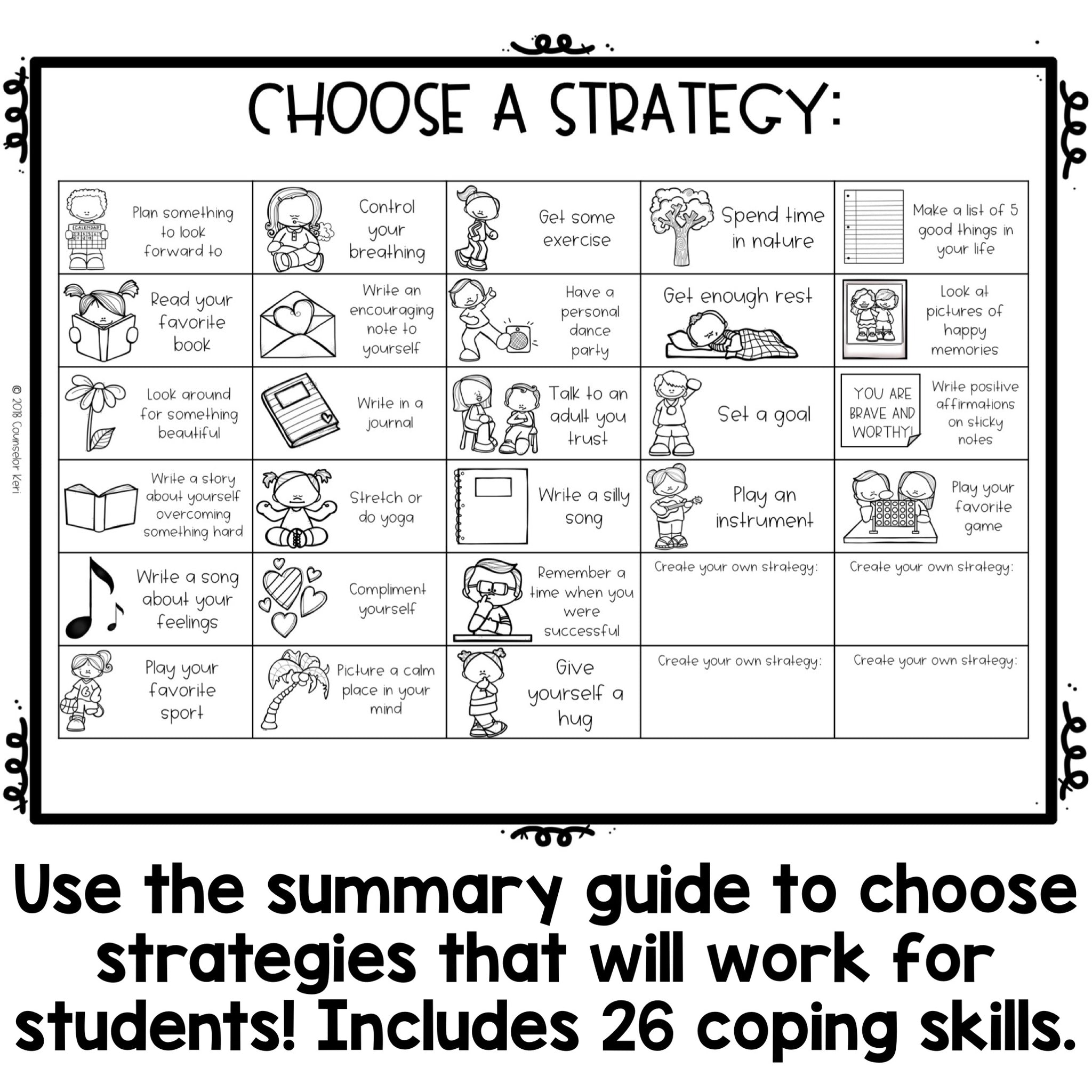 Color by Coping Skills Summer Activity for School Counseling ...