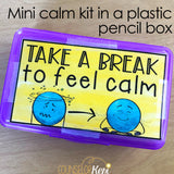 Calm Down Kit Small Box Printables with Coping Skills Cards