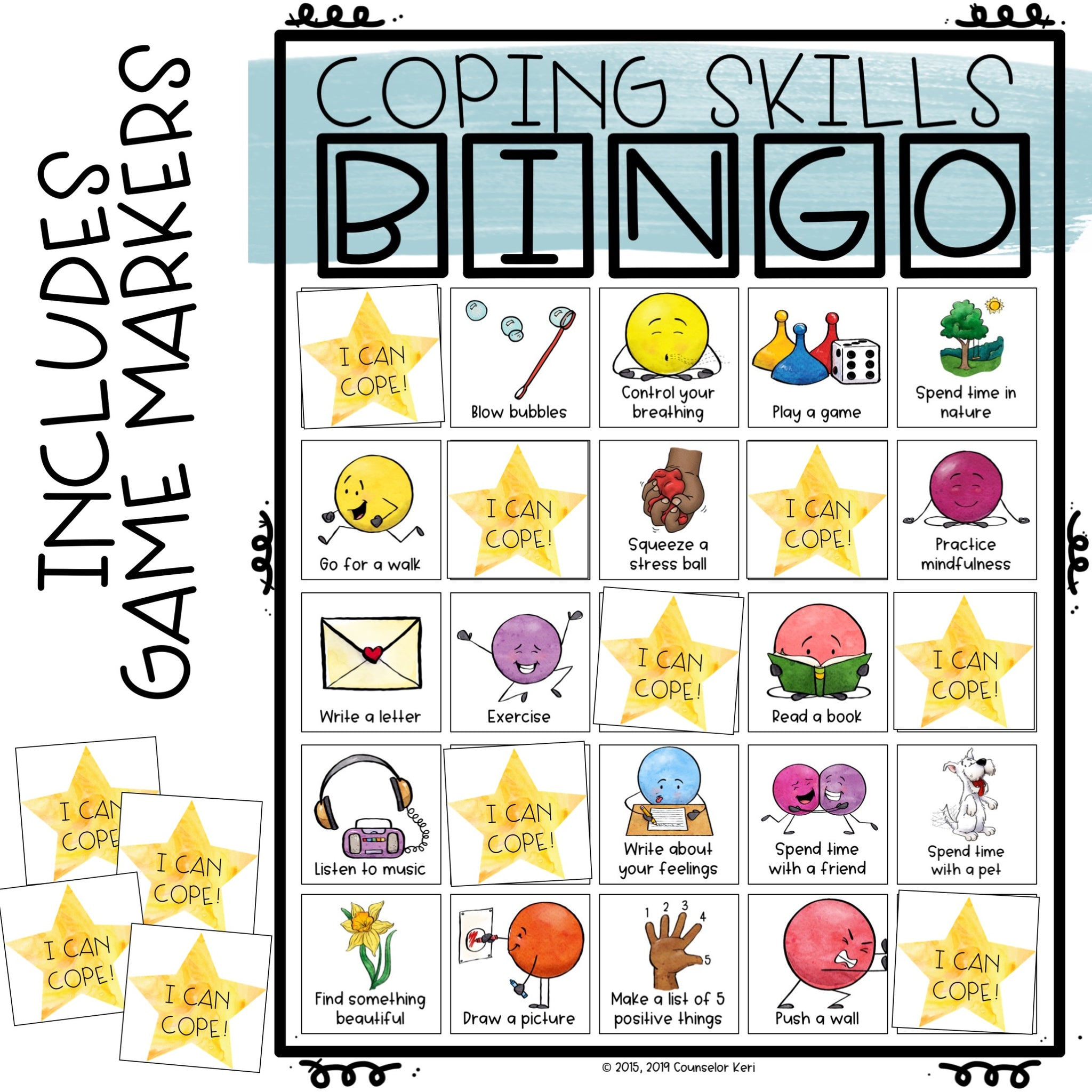 Coping Skills Game: Bingo Counseling Game to Practice
