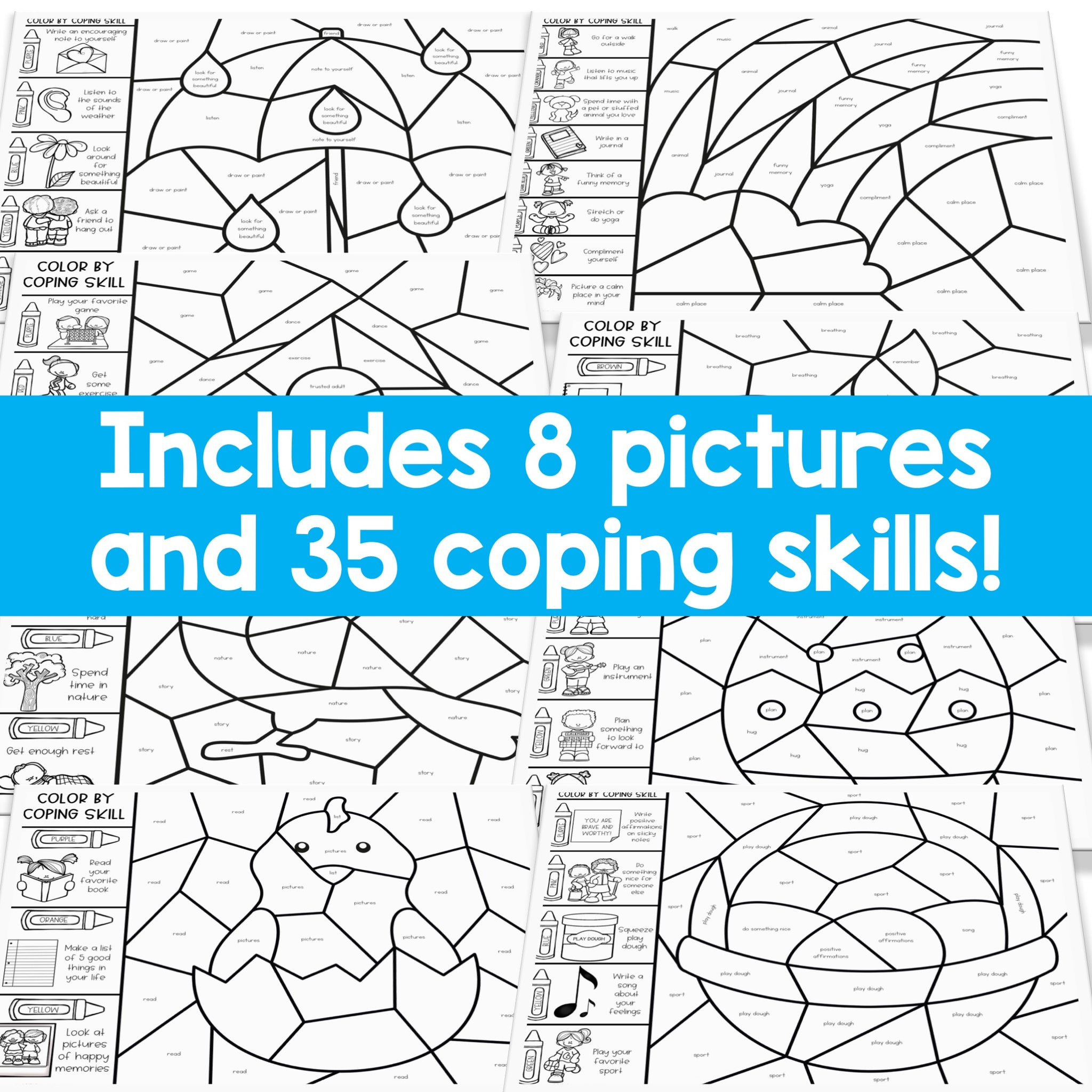 Color by Coping Skills Spring Activity for School Counseling ...