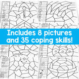 Color by Coping Skills Spring Activity for School Counseling