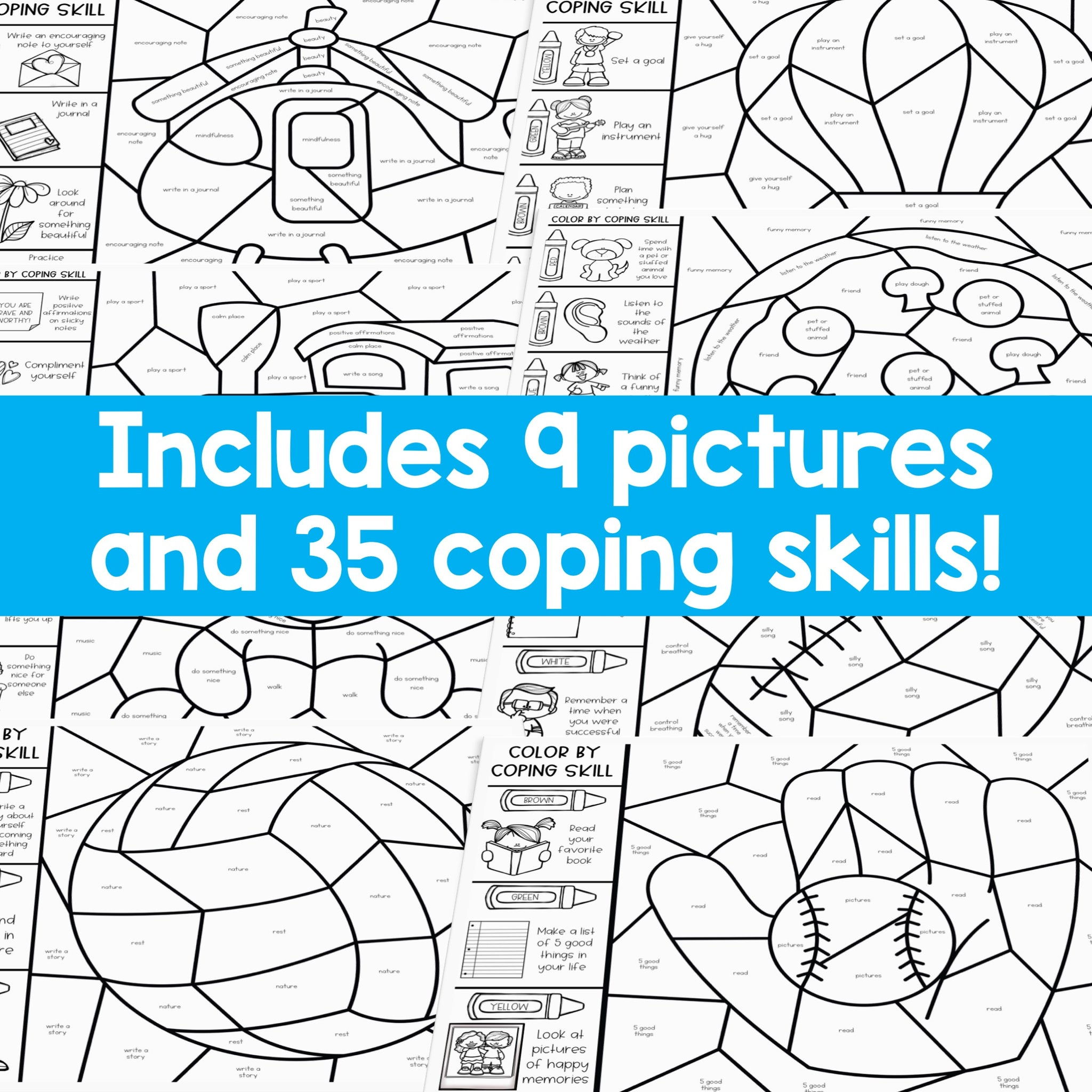 Coping Skills Color by Code: Calming Strategies Activity for School ...