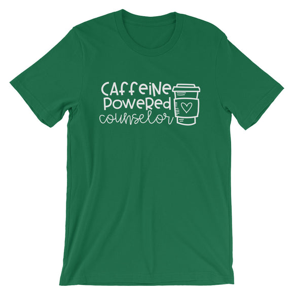 Caffeine Powered Counselor for Coffee Loving Counselors Short-Sleeve Unisex T-Shirt
