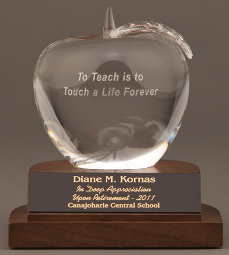Teacher Retirement Gift - Crystal Apple Award