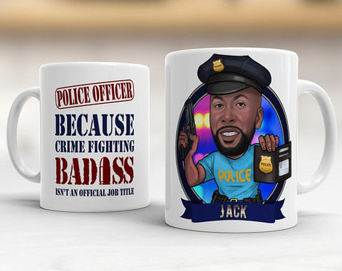 Unique Retirement Gift - Caricature Mug - Police