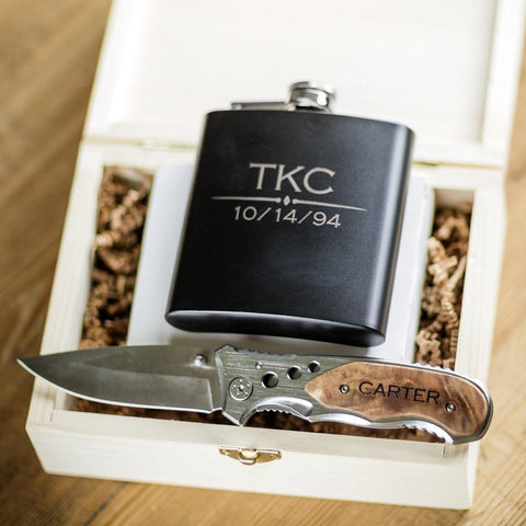 Engraved Flask & Pocket Knife Combo Set