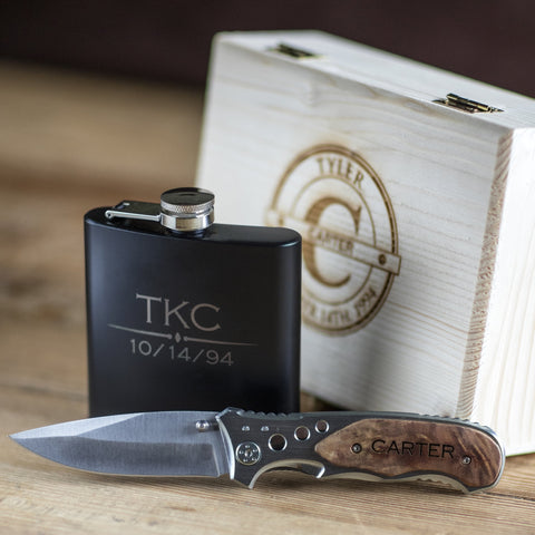 Engraved Flask & Pocket Knife Combo Retirement Gift