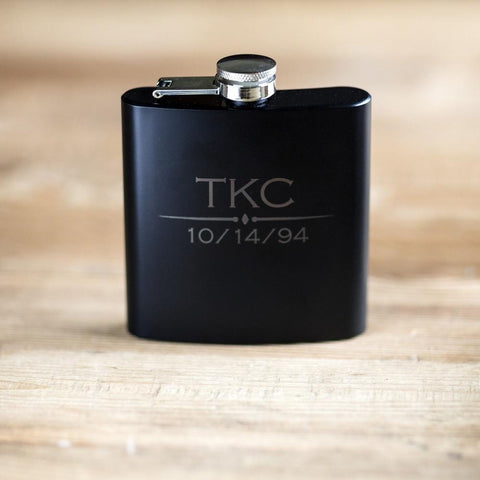 Black Steel Flask with Shot Glasses