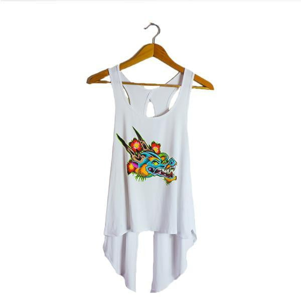 DRAGON - FASHION TOP - WHITE FOR WOMEN BY ARTIST BY JAKE PHILLIPS