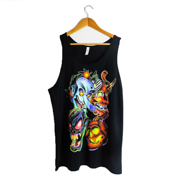 MASKS- Black Tank for Men by artist Jake Phillips - AfterInked