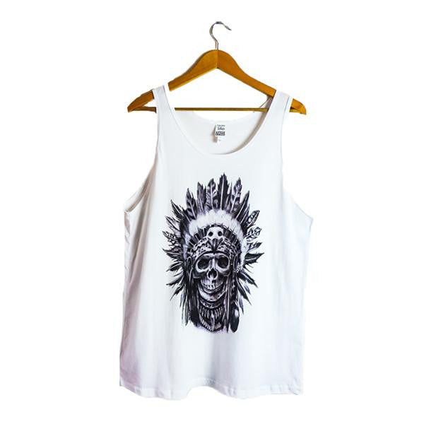 SKULL - WHITE TANK FOR MEN PRINTED BY ARTIST JUNIOR MIRANDA - AfterInked