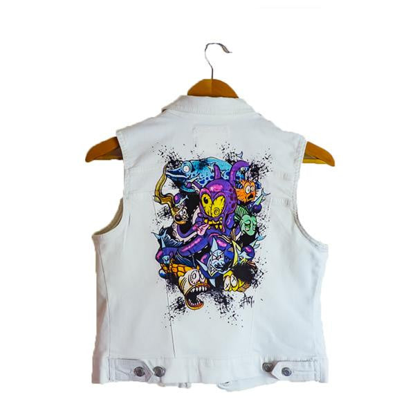 TATTOPUS- WHITE DENIM VEST FOR WOMEN BY ARTIST ADAM NAGY - AfterInked