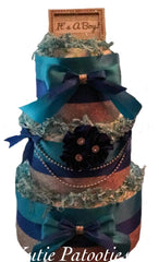 It's a Boy Blue Satin Diaper Cake