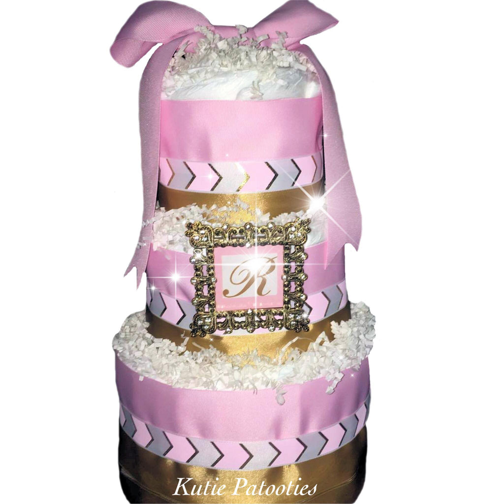Pink, Gold and Rhinestone Celebrity Designed Diaper Cake