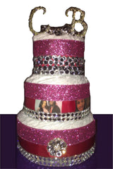 Pink, Glitter and Rhinestone Celebrity Designed Diaper Cake