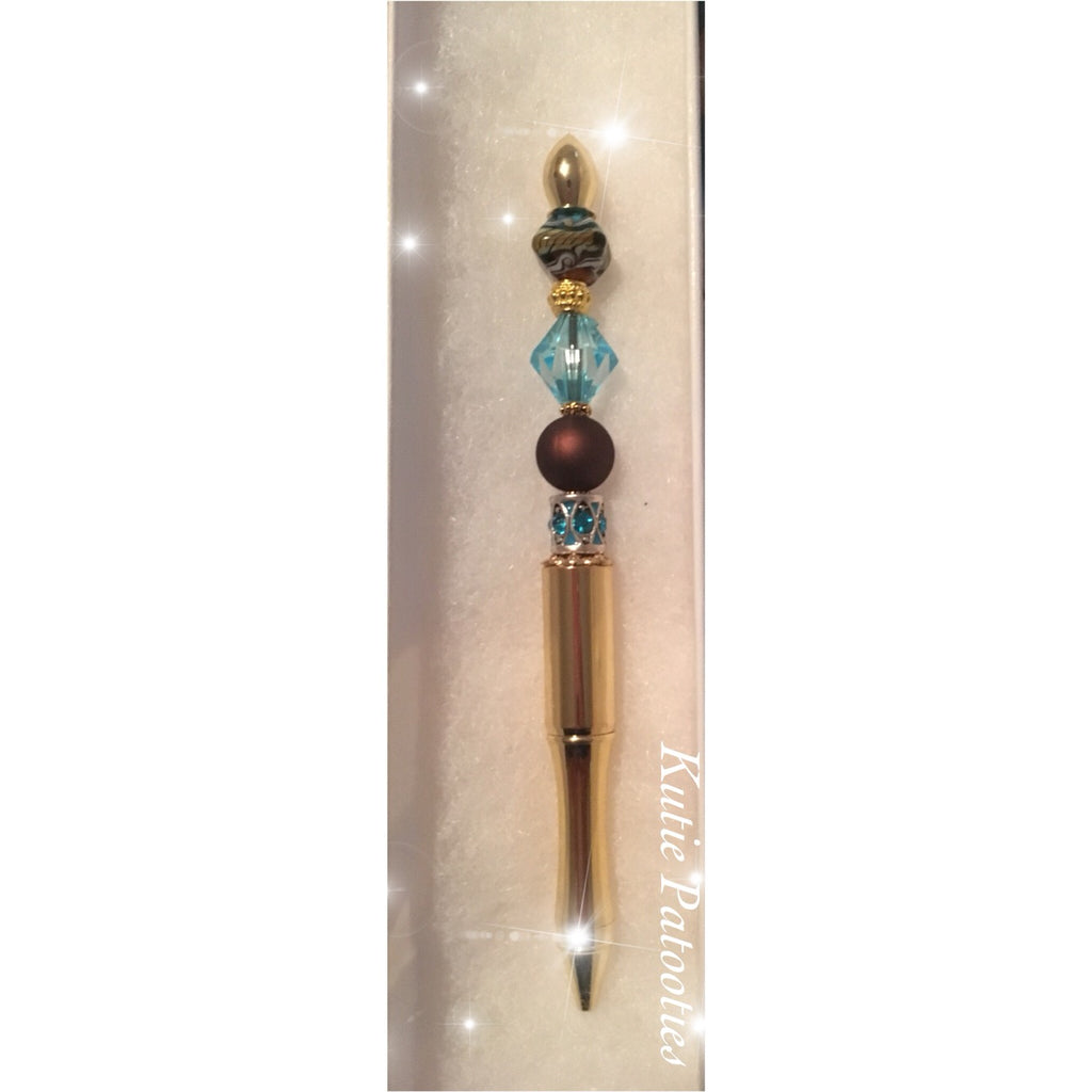 Brown and Teal Pen and Exquisite Beading