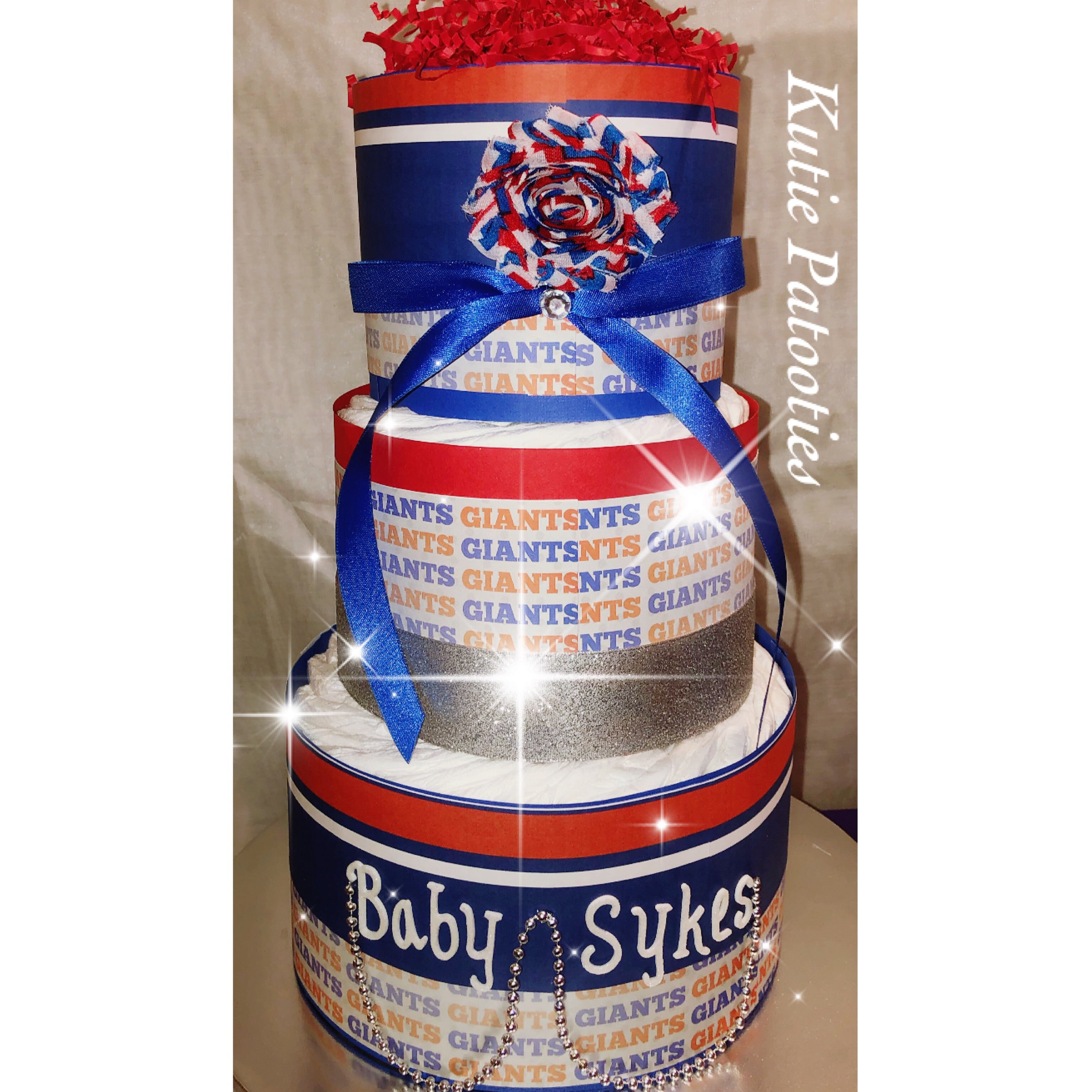 NY Giants Inspired Blue & Red Diaper Cake