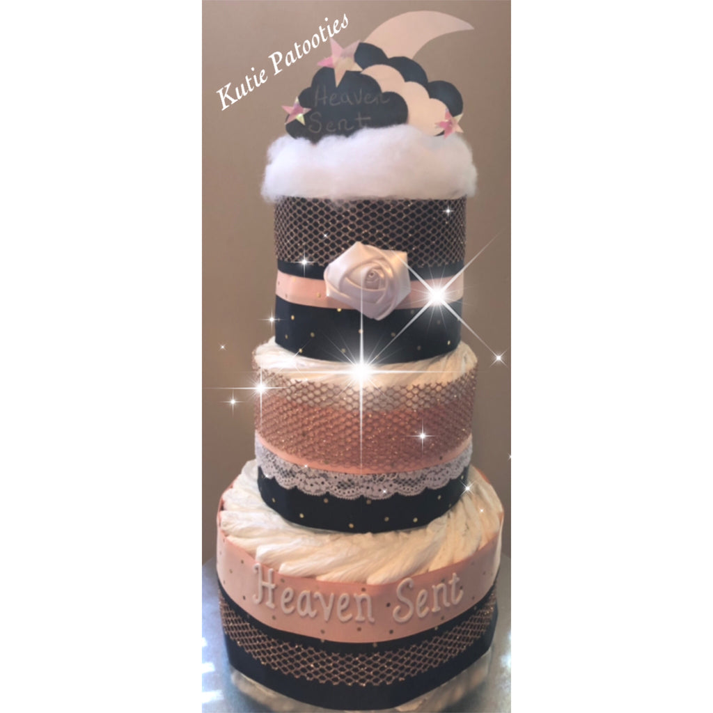 Heaven Sent Featuring Moon and Cloud Brown Sparkling Pink Diaper Cake