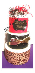 Welcome Baby Brown & Pink Diaper Cake