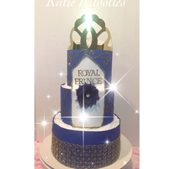 Royal Prince Royalty Inspired Golden & Blue Diaper Cake