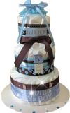 B is for Boy Brown & Blue Diaper Cake