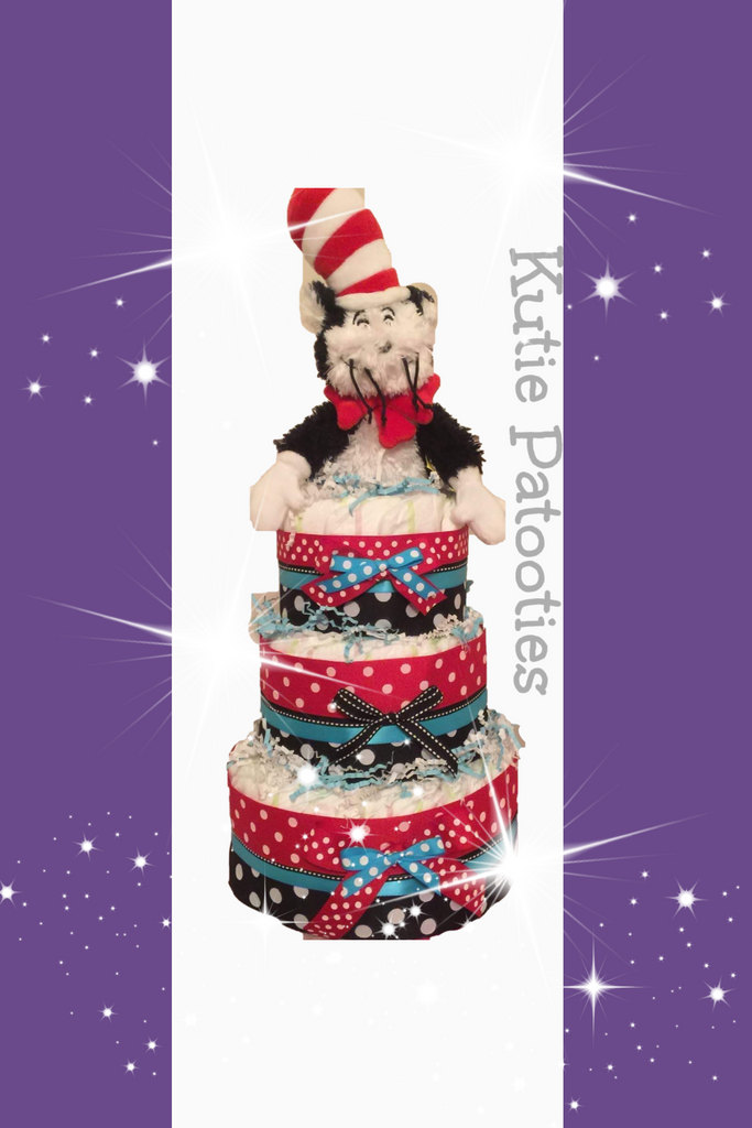 Cat in the Hat (Dr. Suess) Diaper Cake