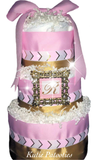 Chevron Grey & Pink Diaper Cake