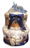 Gold & Blue Elegant Chevron Diaper Cake