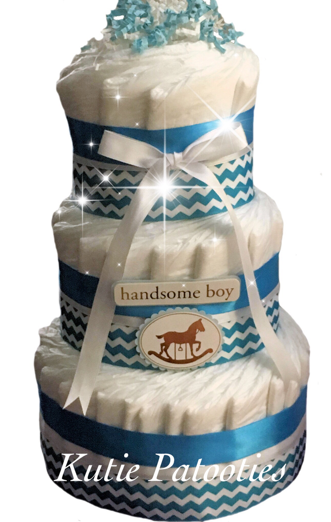 Handsome Boy Chevron Diaper Cake