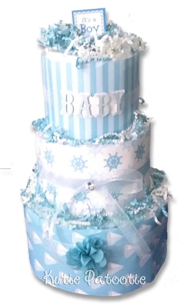 Its a Boy Salior's Wheel Print Diaper Cake